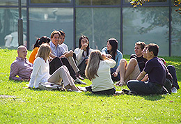Students enjoy the Falmer campus countryside