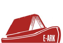 E-Ark project logo, upturned book on sea-going ark shape