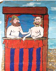 Hetterley, Sean. Wall mural double portrait after Gabrielle d'Estrées et de sa soeur la duchesse de Villars