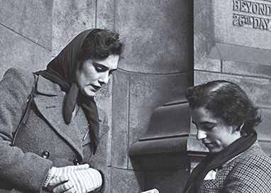 Woman being interviewed outside the Britain Can Make it exhibition 1946