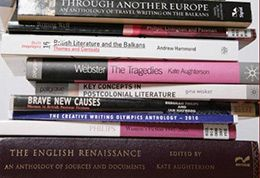part of the tower of publications by staff from University of Brighton literature team.