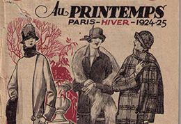 Detail from cover of fashion magazine Au Printemps 1924 showing women's jacket and hat fashions